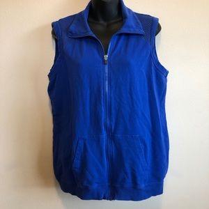 Fabletics Blue Cotton Vest w Mesh Details